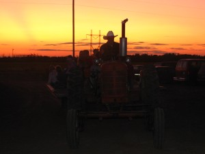 A hayride at sunset is so relaxing at the end of the day.