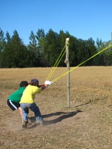 The giant slingshot is a real hit with the men and boys especially!